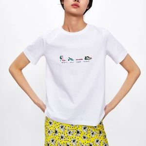 Zara Embroidered Shoes T-Shirt